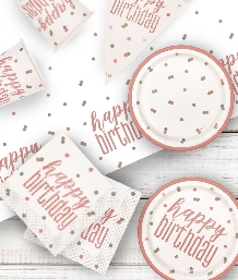 Rose Gold Glitz Happy Birthday Party Supplies | Balloon | Decoration | Pack