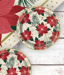 Red and Gold Poinsettia Christmas Party Supplies | Balloon | Decoration | Pack