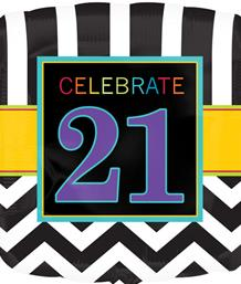 Chevron 21st Birthday Party Supplies | Balloon | Decoration | Pack