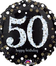Gold Sparkle 50th Birthday Party Supplies | Balloon | Decoration | Pack