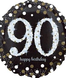 Gold Sparkle 90th Birthday Party Supplies | Balloon | Decoration | Pack