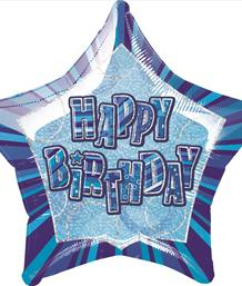 Blue Glitz Happy Birthday Party Supplies | Balloon | Decoration | Pack