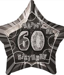 Black Glitz 60th Birthday Party Supplies | Balloon | Decoration | Pack