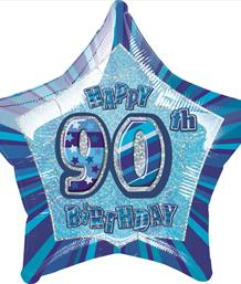 Blue Glitz 90th Birthday Party Supplies | Balloon | Decoration | Pack