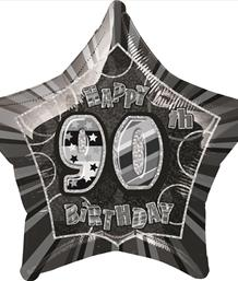 Black Glitz 90th Birthday Party Supplies | Balloon | Decoration | Pack