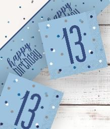 Blue Glitz 13th Birthday Party Supplies | Balloon | Decoration | Pack