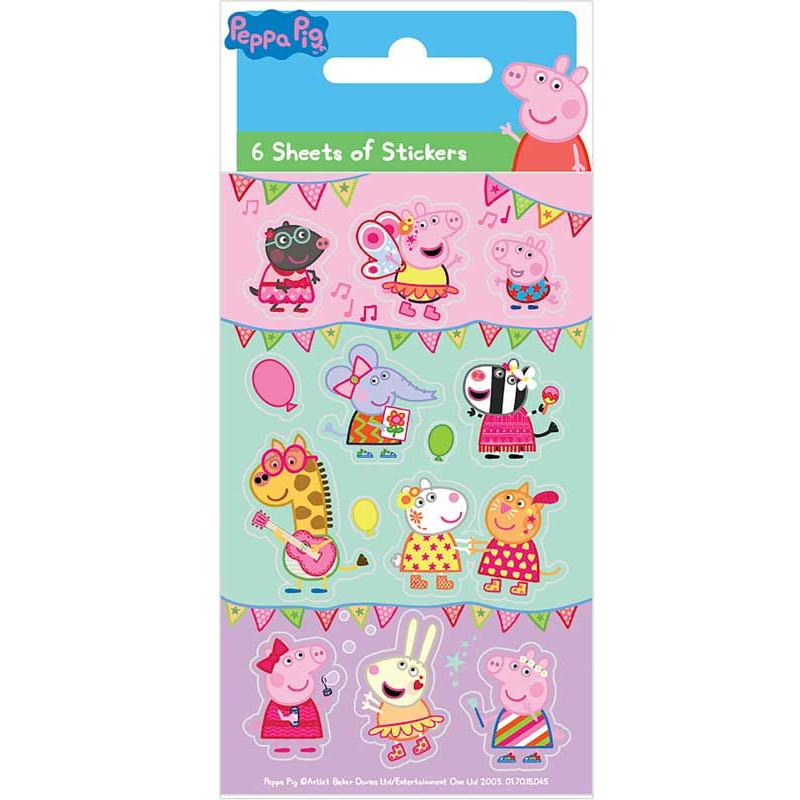 Peppa Pig Party Bag Favour Sticker Sheets