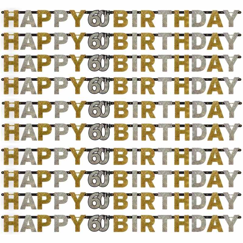 Gold Sparkle 60th Birthday Paper Letter Banner