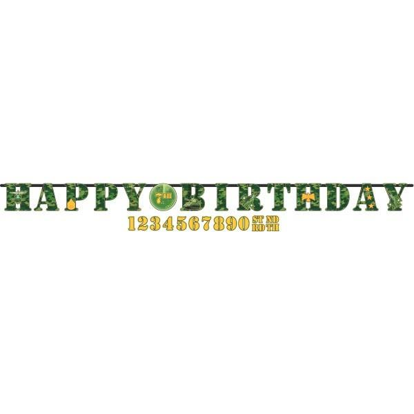 Army Camouflage Add Age Happy Birthday Banner | Decoration