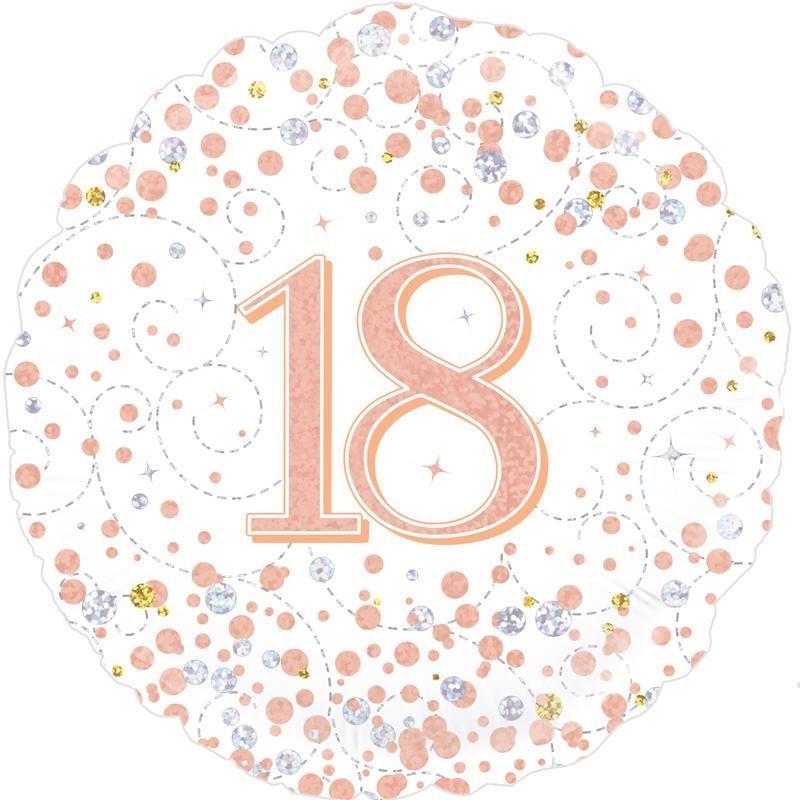"""Rose Gold Confetti 18th Birthday 18"""" Foil"""