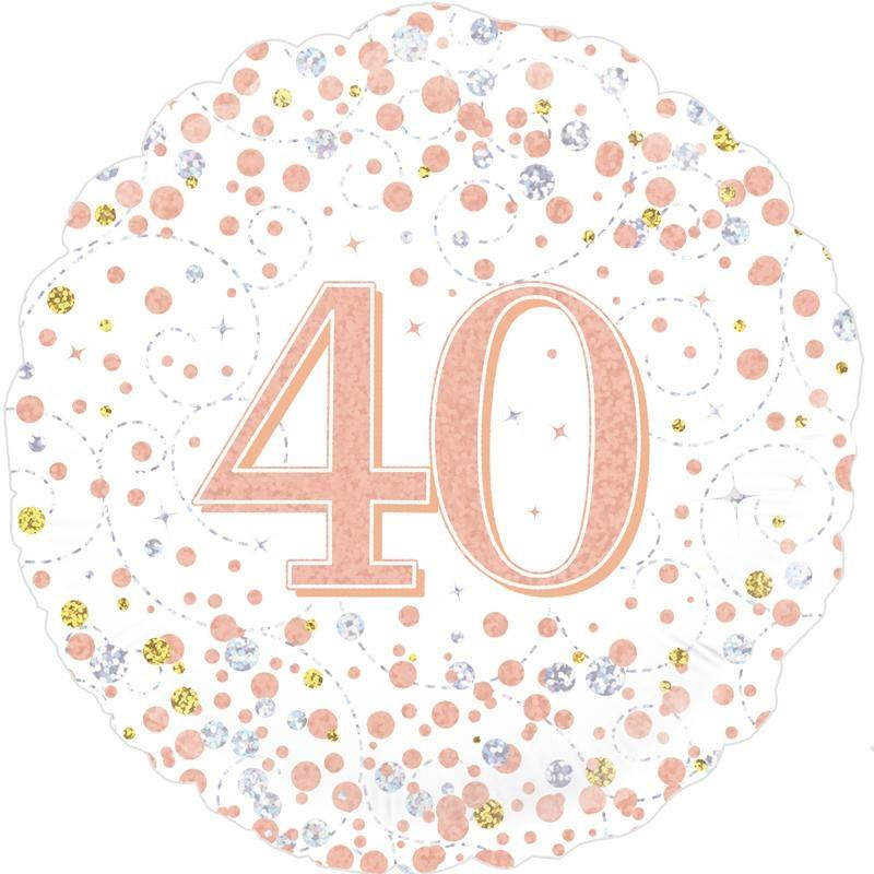 Rose Gold Confetti 40th Birthday 18 Foil