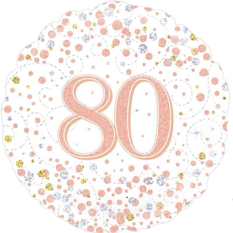 Rose Gold Confetti 80th Birthday 18 Foil