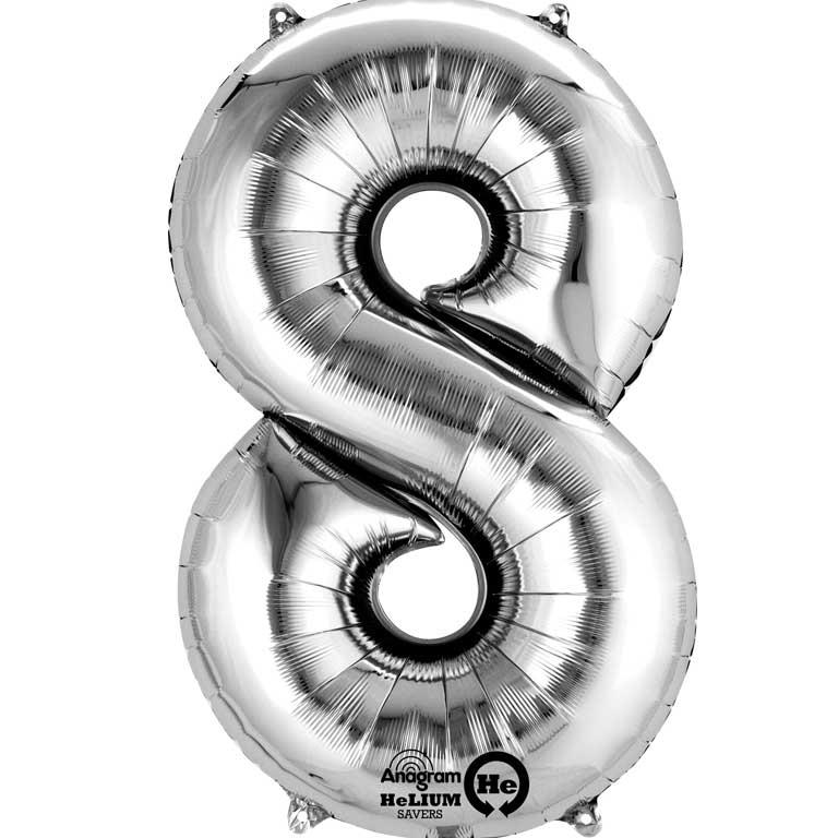 "Anagram Silver 35"" Number 8 Supershape Foil 