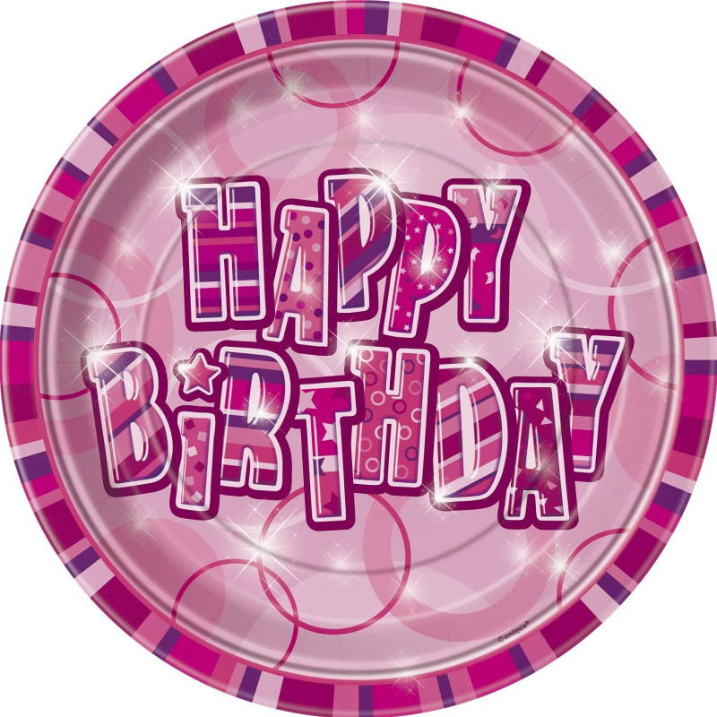 Pink Glitz Happy Birthday Party Plates