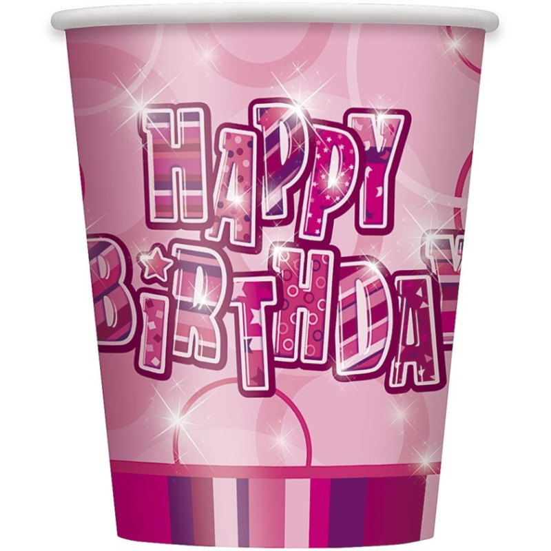 Pink Glitz Happy Birthday Party Cups