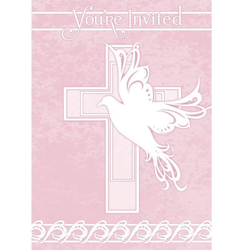 Pink Dove Cross Christening Party Invitations | Invites