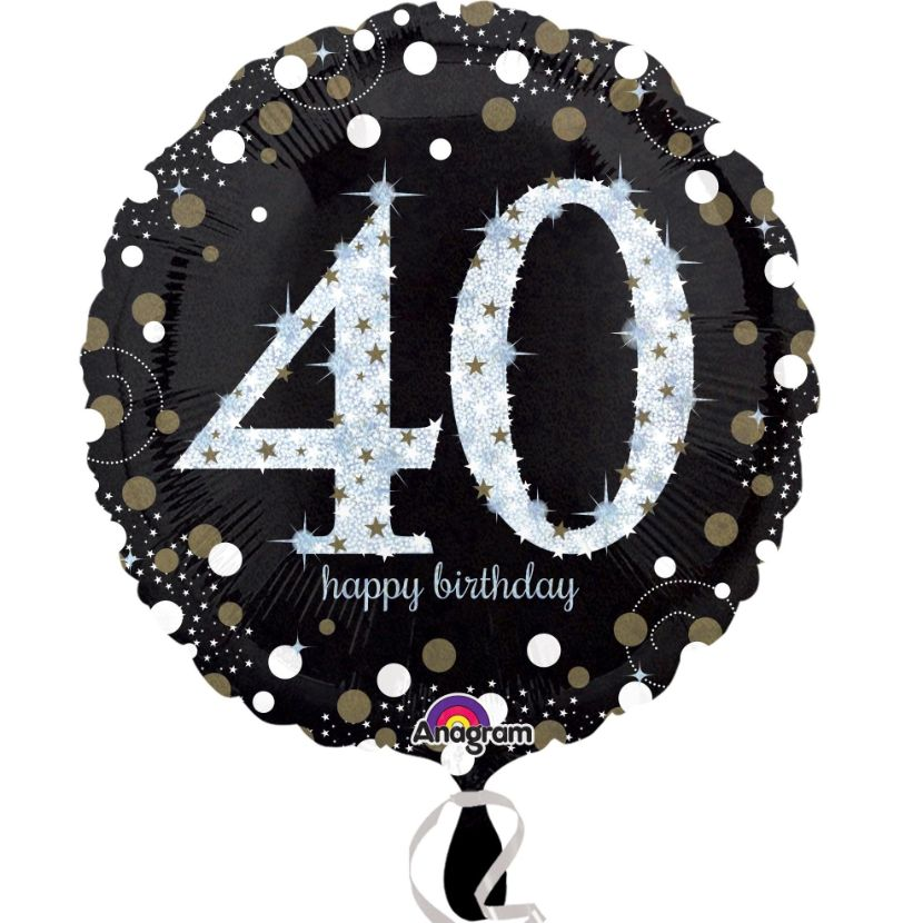 Gold Sparkle 40th Birthday Foil Helium Balloon
