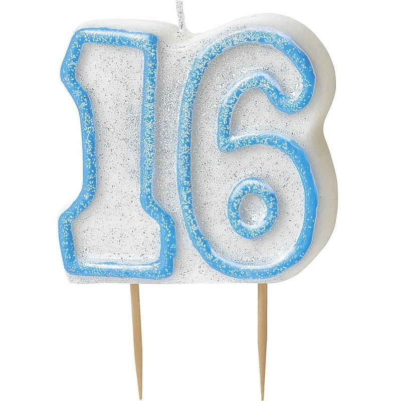 Blue Glitz 16th Birthday Cake Number Candle  | Decoration