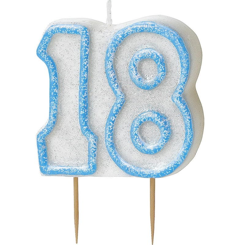Blue Glitz 18th Birthday Cake Number Candle  | Decoration