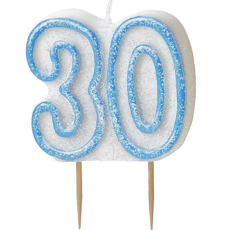 Blue Glitz 30th Birthday Cake Number Candle  | Decoration