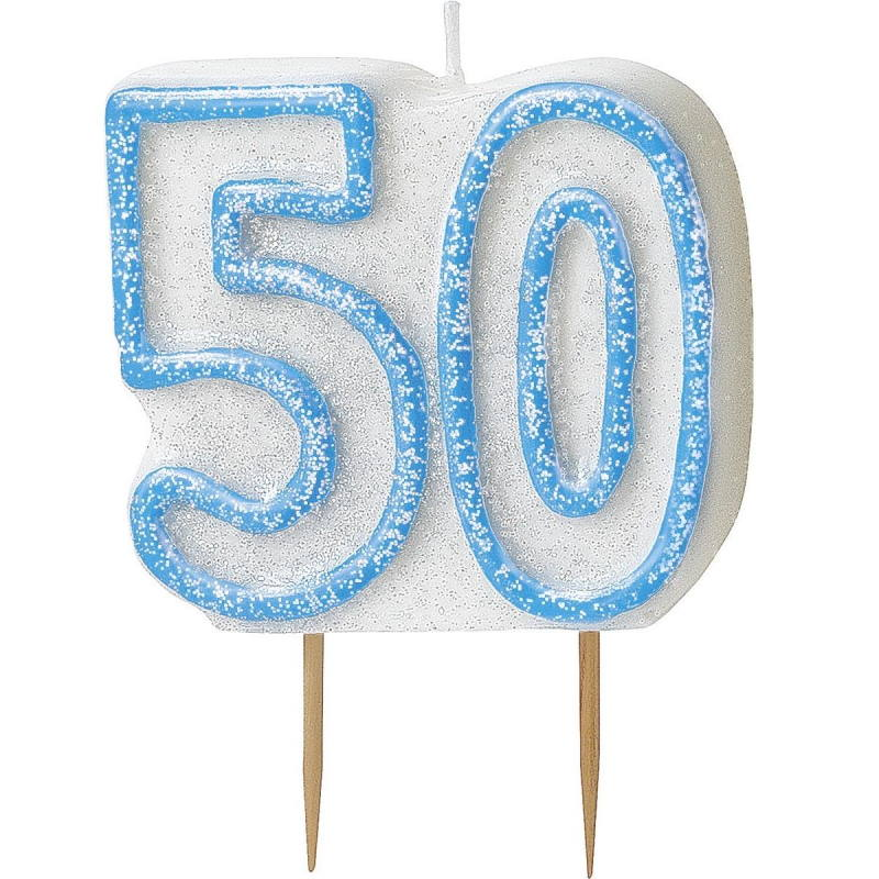 Blue Glitz 50th Birthday Cake Number Candle  | Decoration