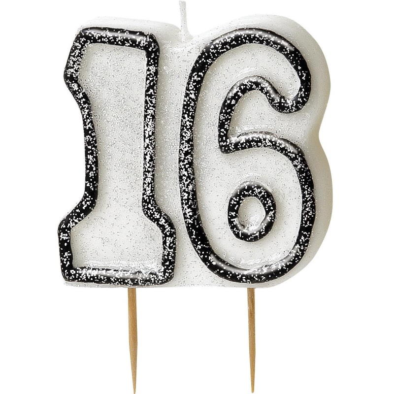 Black Glitz 16th Birthday Party Cake Candle | Decoration