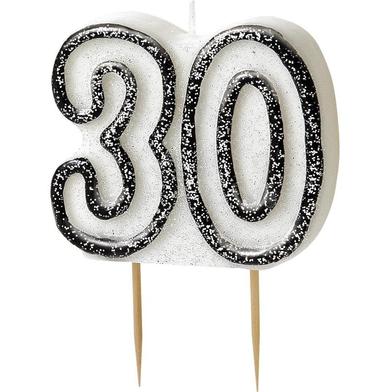 Black Glitz 30th Birthday Party Cake Candle