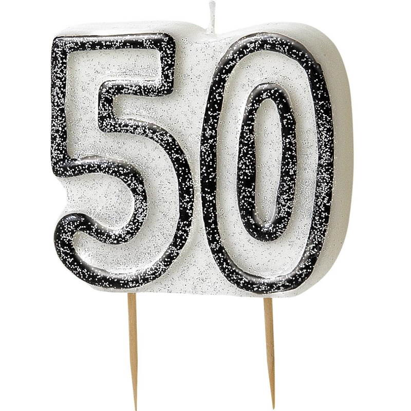 Black Glitz 50th Birthday Party Cake Candle | Decoration
