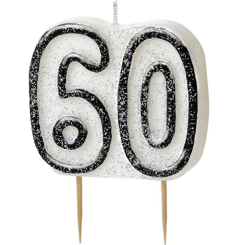 Black Glitz 60th Birthday Party Cake Candle | Decoration