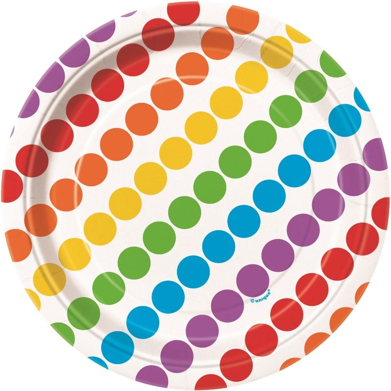 Rainbow Colourful Party Cake Plates