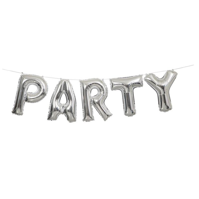 Silver Party Letter Balloon Banner