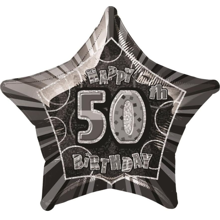 Black Glitz 50th Happy Birthday 2034 Star Foil Helium Balloon