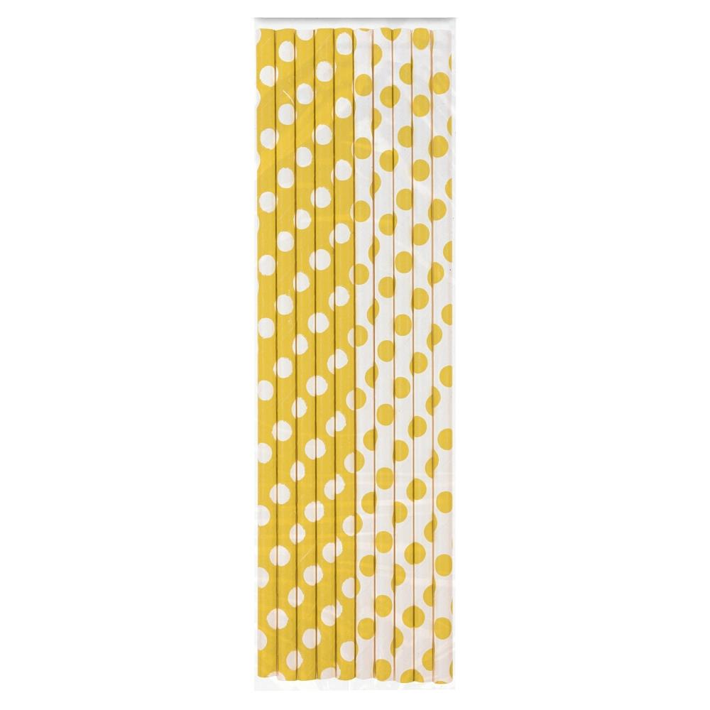 Sunflower Yellow Polka Dot Party Drinking Straws