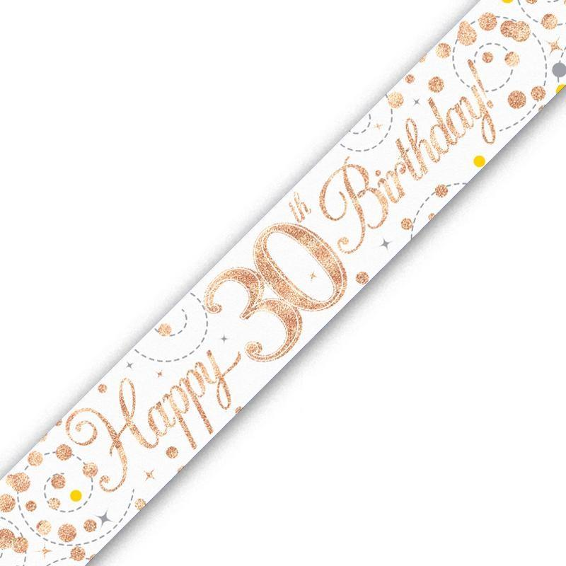 White and Rose Gold Banner Age 16th to 90th and Birthday Party Decoration