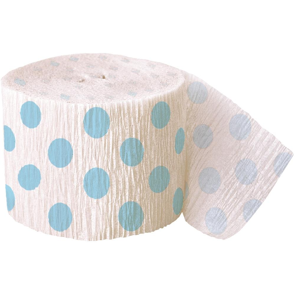 Baby Blue Polka Dot Party Streamer Decoration 30ft
