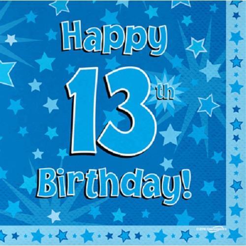 Blue Star Happy 13th Birthday Party Napkins Serviettes