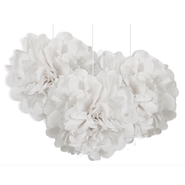 White 9 Puff Ball Party Hanging Decorations