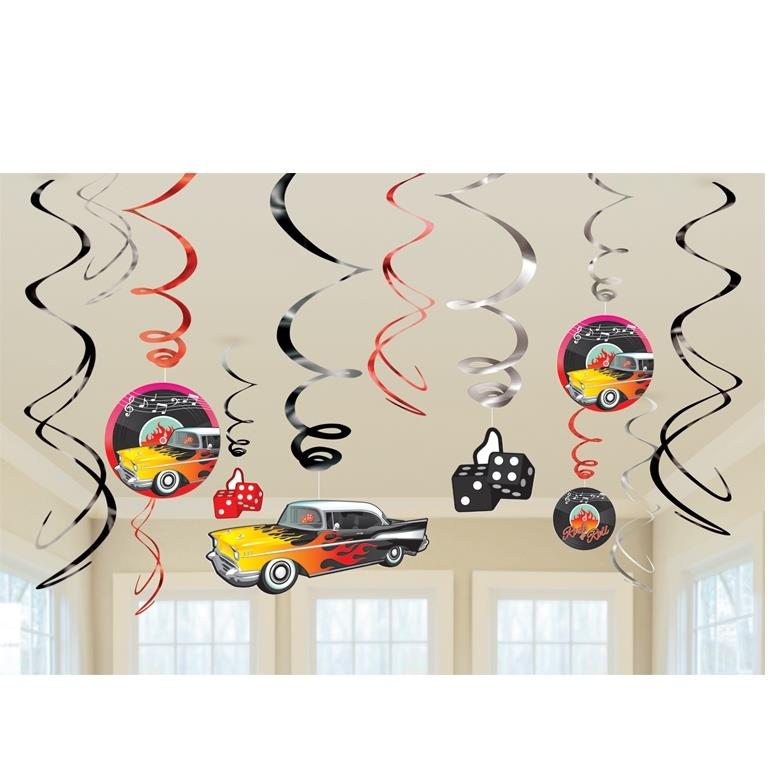 1950's Rock & Roll Party Hanging Swirl Decorations