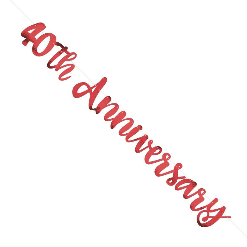 Ruby Red 40th Wedding Anniversary Party Foil Letter Banner Decoration