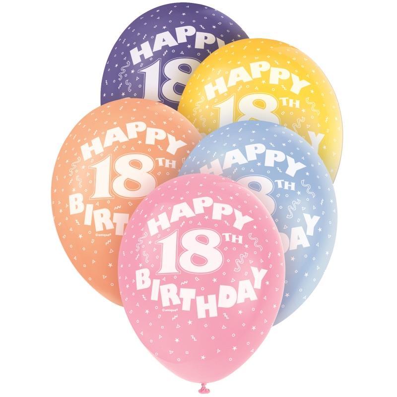 Happy 18th Birthday Party Latex Balloons