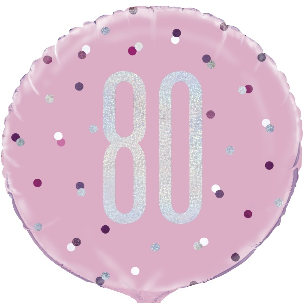 Pink And Silver Holographic 80th Birthday 1834 Foil