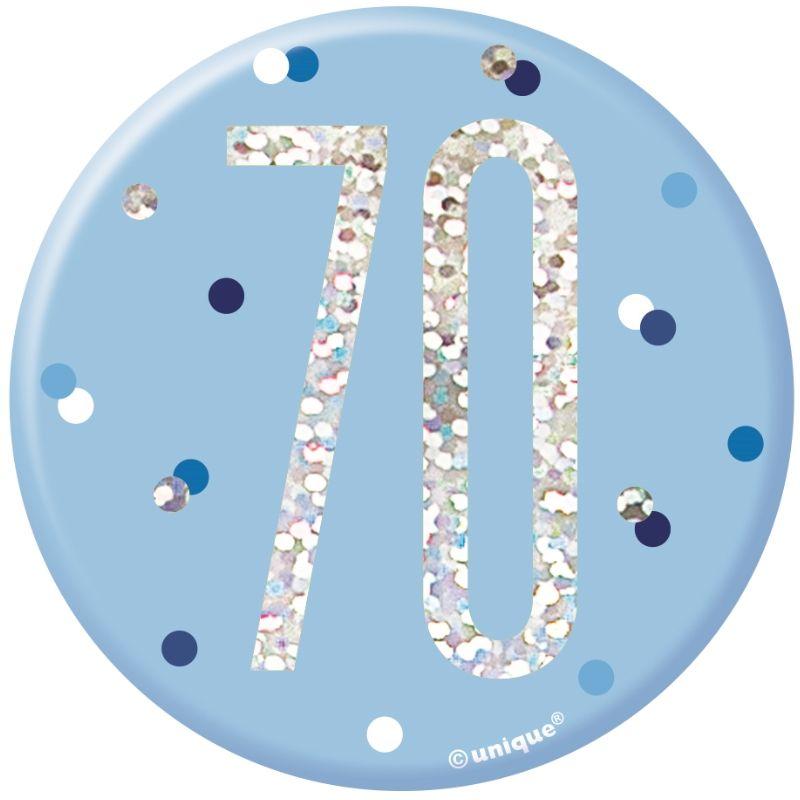 Blue Age 7 Birthday 6 Inch Jumbo Holographic Badge