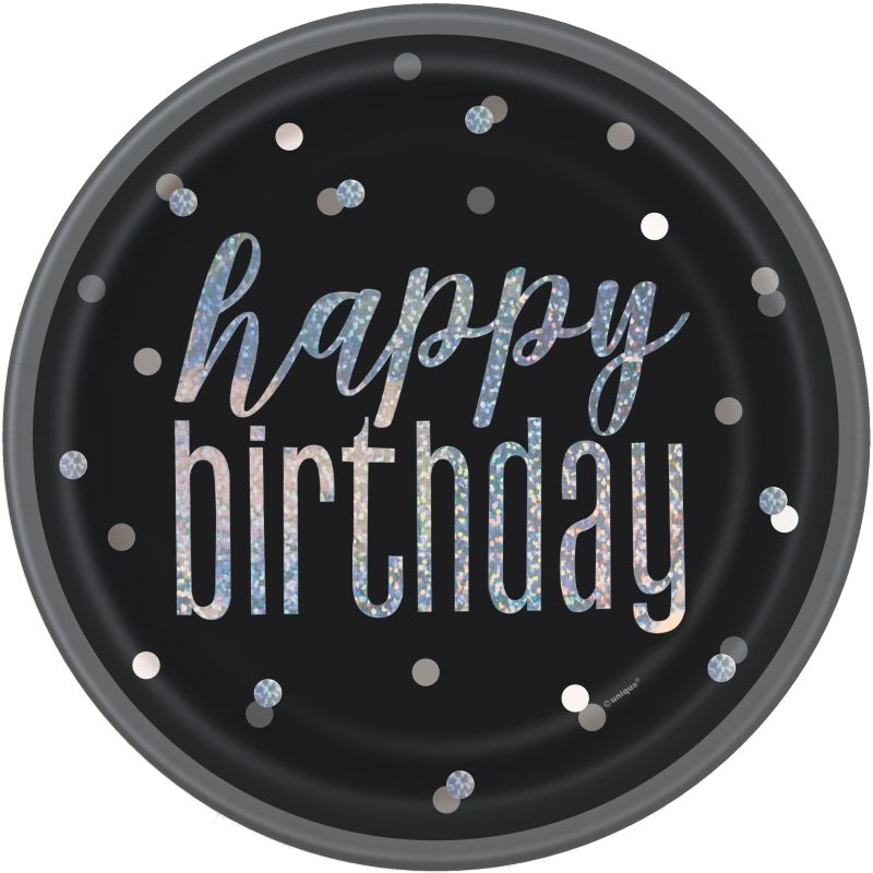 Black and Silver Holographic Happy Birthday 23cm Party Plates