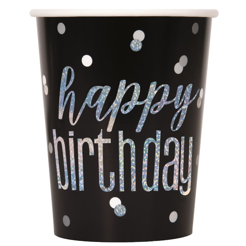Black and Silver Holographic Happy Birthday Party Cups