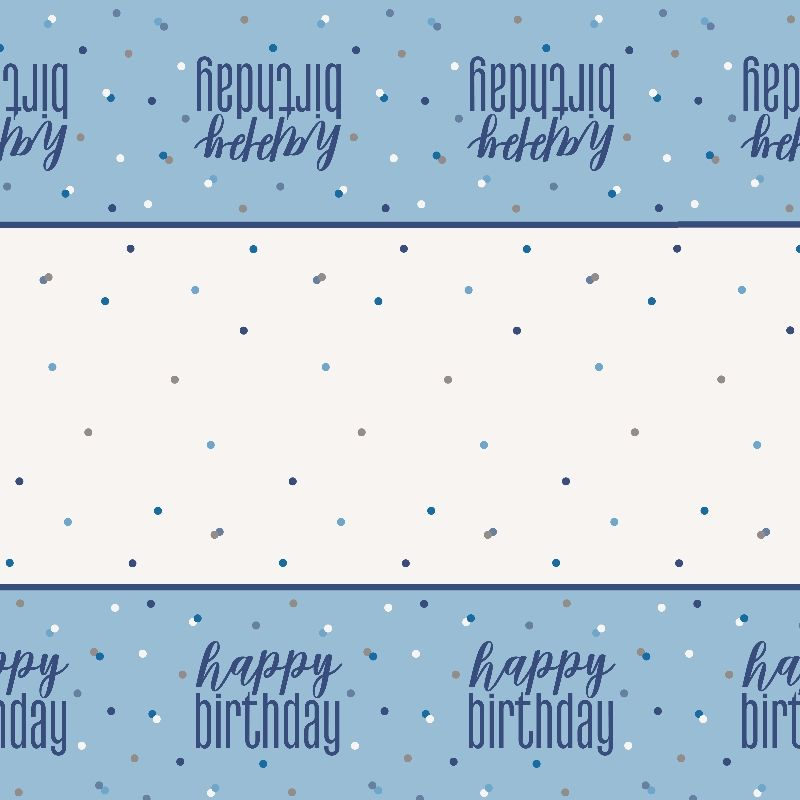 Blue and Silver Holographic Happy Birthday Party Tablecover | Tablecloth