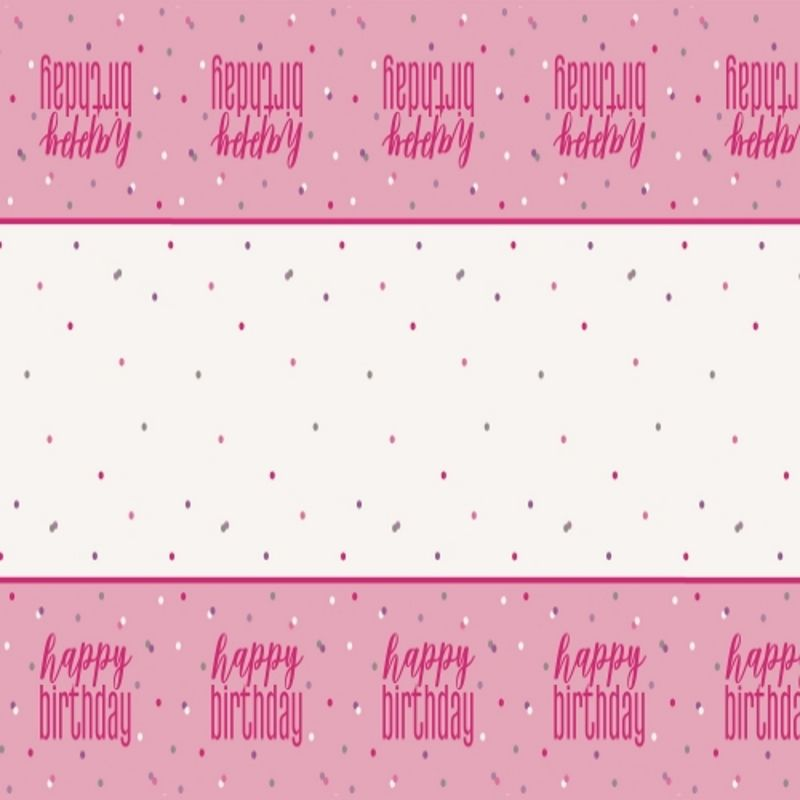 Pink and Silver Holographic Happy Birthday Party Tablecover | Tablecloth
