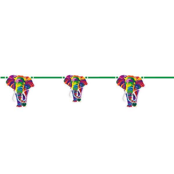 Colourful Elephants Party Ribbon Banner | Decoration