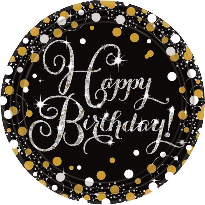 Gold Sparkle Happy Birthday Party Plates