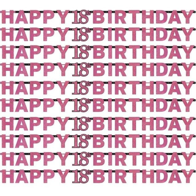pink sparkle 18th birthday paper letter banner