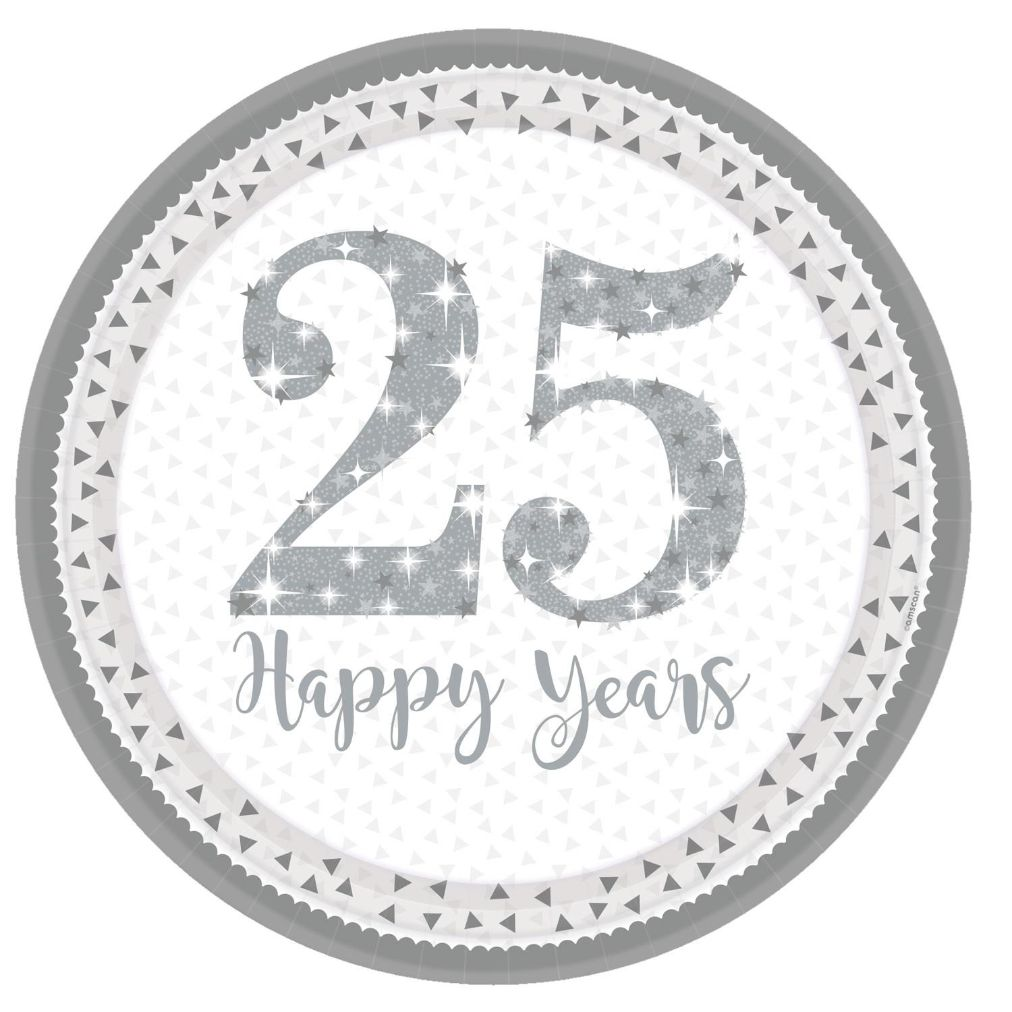 Sparkling Silver 25th Wedding Anniversary Party Plates